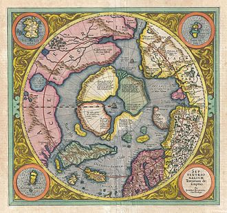 Arctic exploration - Gerard Mercator's map of the North Pole, 1606.