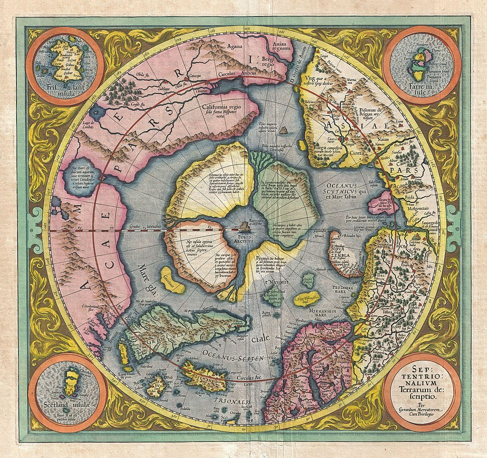 1606 Mercator Hondius Map of the Arctic (First Map of the North Pole) - Geographicus - NorthPole-mercator-1606