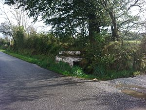 Milk churn - Decaying milk churn stand, near Crymych, Pembrokeshire