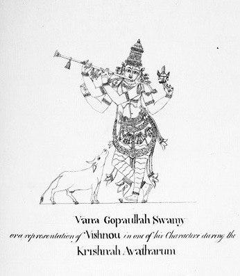 1801 sketch of Krishna sculpture at Meenakshi temple Madurai Tamil Nadu, cropped image