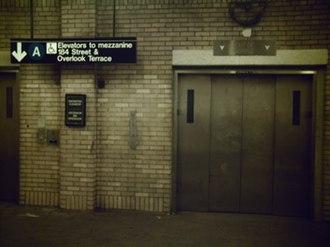 181st Street (IND Eighth Avenue Line) - The upper mezzanine's elevator bank
