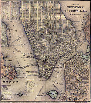 New York and Harlem Railroad - An 1847 map of Lower Manhattan; the only railroad in Manhattan at that time was the New York and Harlem Railroad