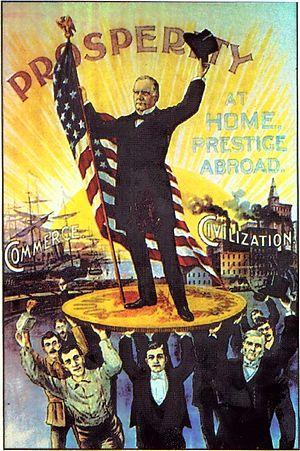 English: 1900 US political poster showing McKi...