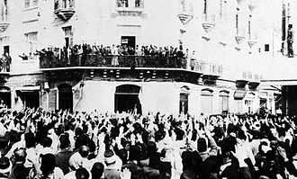 1936 Syrian general strike - Crowds in Damascus cheering National Bloc leaders headed by Jamil Mardam Bey before they left for talks in Paris on 31 March 1936.