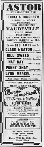 1942 - Astor Theatre 28 Oct MC - Allentown PA.jpg