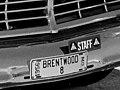 1956 Brentwood, Missouri license plate, number 8 - Civil Defense evacuation (MSA) (23736047180) (cropped).jpg