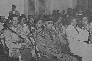 Abdul Haris Nasution - Nasution listening to Sukarno reading his decree of 1959