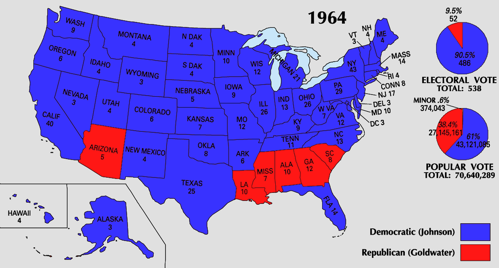 1964 Electoral Map