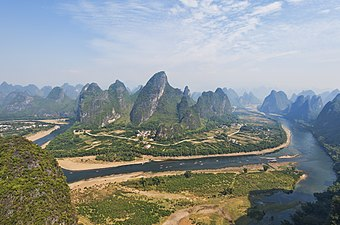 Image result for karst formations found in a large area around the southern city of Guilin.