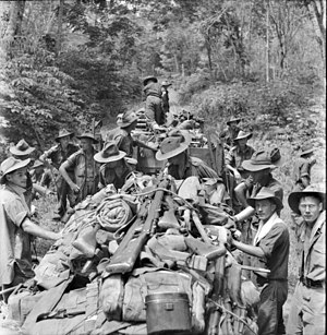 2/32nd Battalion (Australia) - 2/32nd Battalion stores being transported by jeep on Borneo, July 1945