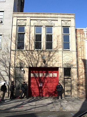 Snooki & Jwoww - The former firehouse at 38 Mercer Street in Jersey City, New Jersey that served as the first season residence. Seen in the photo are a member of the production staff and Jersey City Police officers.