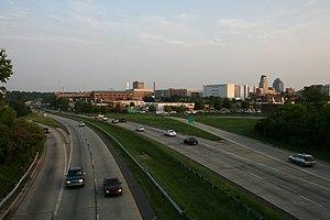 North Carolina Highway 147 - NC 147 winding around downtown Durham