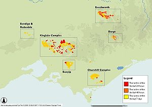Black Saturday bushfires - Map of fire locations on 10 February