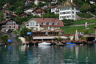 Hilterfingen - A boat ramp, sail up restaurant and Hilterfingen village