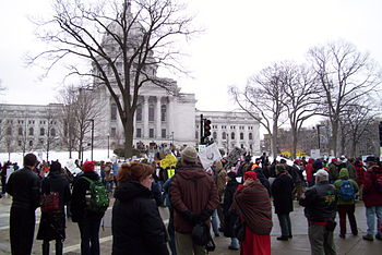 English: Protesters demonstrating at the Wisco...