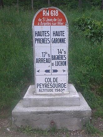 Col de Peyresourde - Image: 2015 Peyresourde summit sign