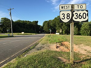 Virginia State Route 38 - View west along SR 38 in Amelia Courthouse