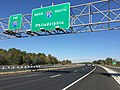 2017-10-06 10 17 58 View north at the north end of Interstate 295 (Camden Freeway) and south at the north end of Interstate 95 at Exit 67A (U.S. Route 1 North, New Brunswick) in Lawrence Township, Mercer County, New Jersey.jpg