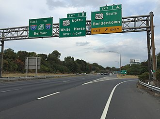 Interstate 195 (New Jersey) - Image: 2017 10 06 17 01 30 View east along Interstate 195 (Central Jersey Expressway) at Exit 1A (U.S. Route 206 SOUTH, Bordentown) in Hamilton Township, Mercer County, New Jersey