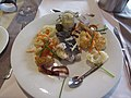 2018-03-25 loin of cod with tempura batterd vegetables, Cap Finistère Brittany Ferry.JPG