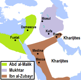 Map of the Middle East with shaded areas indicating the territorial control of the main political actors of the Second Muslim Civil War