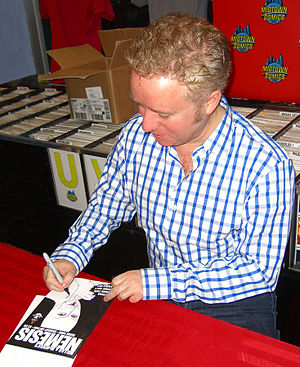 Nemesis (Icon Comics) - Writer Mark Millar signing a copy of the book during an appearance at Midtown Comics in Manhattan.