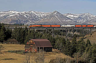 Browning, Montana - Steam excursion train crossing Two Medicine River west of Browning, 2009