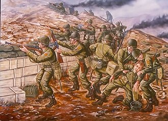 Battle of Pork Chop Hill - Painting of the 45th Infantry Division at Pork Chop Hill in 1952