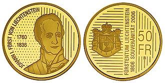 Liechtenstein franc - 50 Liechtenstein franc coin, gold, 2006