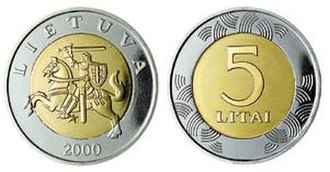 Coins of the Lithuanian litas - Image: 5 litai coin (1997)