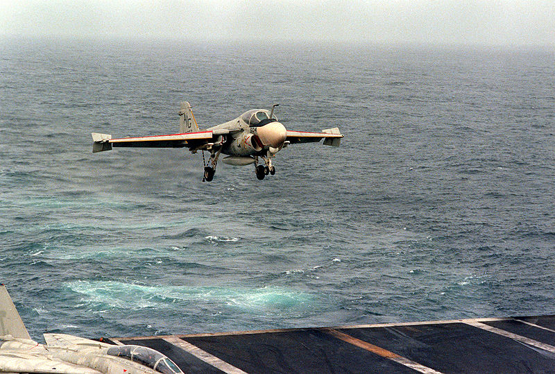 File:A-6E Intruder landing on CVN-69.jpg