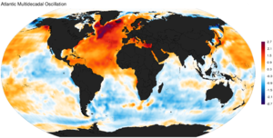 Atlantic multidecadal oscillation - Atlantic multidecadal oscillation spatial pattern obtained as the regression of monthly HadISST sea surface temperature anomalies (1870-2013).