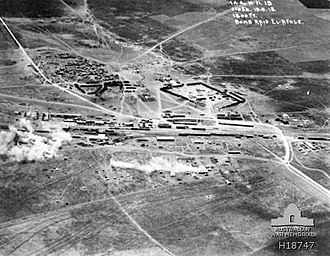 Battle of Sharon - Aerial photograph of air raid on Afulah railway on 19 September 1918. Road to Nazareth in top left corner