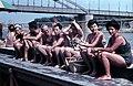A Szőke Tisza I. hajószálló úszóháza a Korányi rakpartnál a Tiszán, háttérben a Belvárosi híd. Fortepan 101420.jpg
