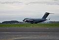 A U.S. Air Force C-17 Globemaster III aircraft touches down Nov. 11, 2013, during Kiwi Flag as part of Southern Katipo 2013 at Royal New Zealand Air Force Base Ohakea, New Zealand 131111-F-FB147-034.jpg