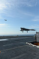 A U.S. Navy X-47B Unmanned Combat Air System demonstrator aircraft conducts a touch and go landing on the flight deck of the aircraft carrier USS George H.W. Bush (CVN 77) May 21, 2013, in the Atlantic Ocean 130521-N-YZ751-516.jpg