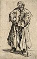 A bearded beggar dressed in rags holding a hat and a staff i Wellcome V0020324ER.jpg