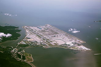 Chek Lap Kok - Aerial view of the airport island in 2010