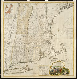 Map of New England Colonies in 175
