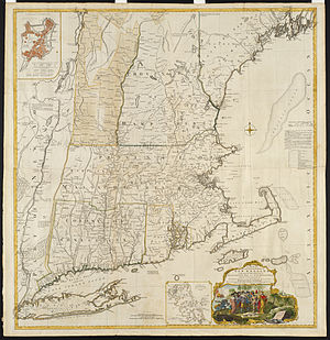 Equivalent Lands - Map of New England showing much of the affected areas, circa 1755
