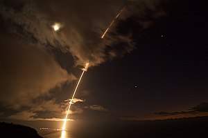 Pacific Missile Range Facility - Target ballistic missile launch from Barking Sands, to test SM-6 missile interception