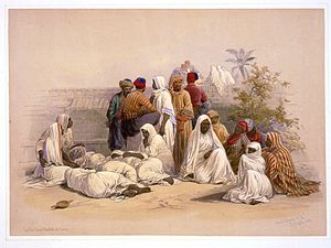 History of slavery in the Muslim world - A slave market in Cairo. Drawing by David Roberts, circa 1848.