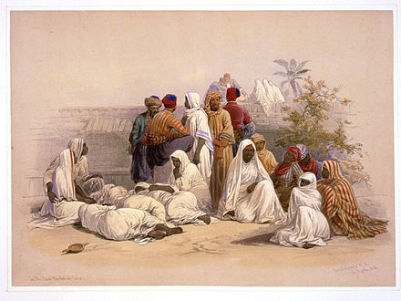 Barefooted slaves depicted in David Roberts' Egypt and Nubia, issued between 1845 and 1849 A slave market in Cairo-David Roberts.jpg