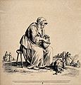 A woman is sitting on a stool with a basket on her lap and a Wellcome V0020415.jpg