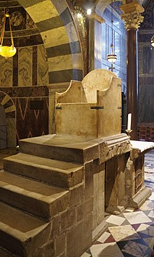 A photo of a marble throne