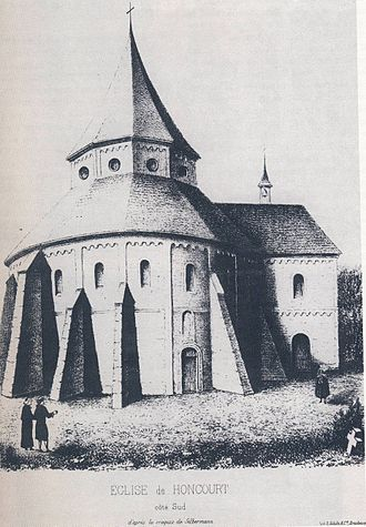 Honcourt Abbey - The rotunda of Honcourt Abbey church from the south (lithograph by A. Straub, 1856, after A. Silbermann)