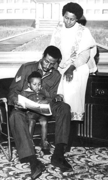 Abebe Bikila with wife and son