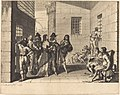 Noble men and women in a prison yard. Prisoners beseeching aid. One prisoner is chained at the neck.