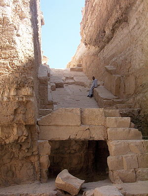 Abu Rawash - The guard at Abu Rawash rests in the shade of the burial pit of the Pyramid of Djedefre