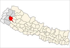 Achham District i Seti Zone (grå) i Far-Western Development Region (grå + lysegrå)